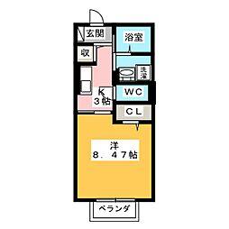 D-roomYH 2階1Kの間取り