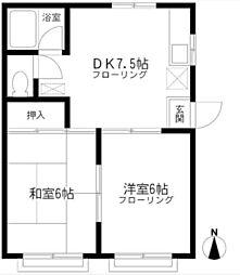 神奈川県横浜市磯子区岡村7丁目の賃貸アパートの間取り