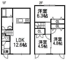 [テラスハウス] 北海道札幌市南区常盤二条1丁目 の賃貸【/】の間取り