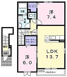 サン・アニメート 2階2LDKの間取り