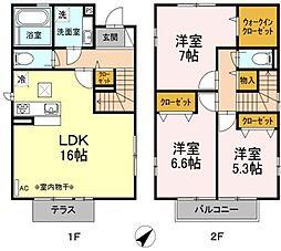 [テラスハウス] 東京都日野市大字新井 の賃貸【/】の間取り