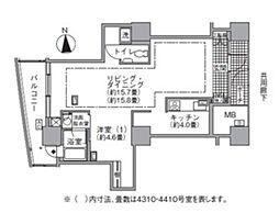 都営大江戸線 汐留駅 徒歩4分の賃貸マンション 43階1LDKの間取り