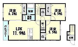福岡県糟屋郡宇美町とびたけ3丁目の賃貸アパートの間取り