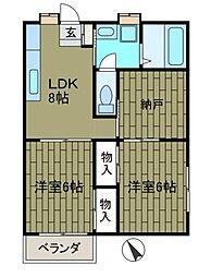 神奈川県相模原市中央区上矢部2丁目の賃貸アパートの間取り