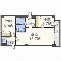 北海道札幌市白石区平和通6丁目北の賃貸マンションの間取り