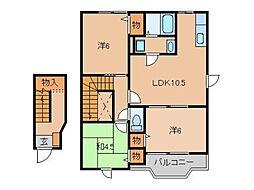 奈良県五條市二見5丁目の賃貸アパートの間取り