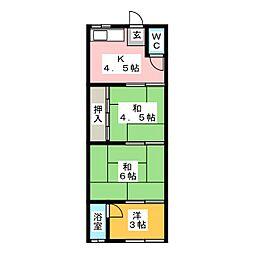 茜荘[1階]の間取り
