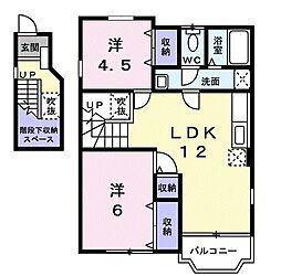 並木下弐番館 2階2DKの間取り