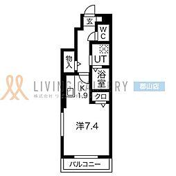 JR東北本線 郡山駅 徒歩10分の賃貸アパート 1階1Kの間取り
