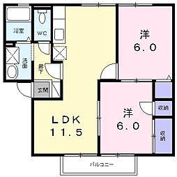 ガーデンスクエアD[1階]の間取り