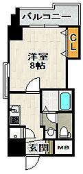 ビガーポリス133宝塚 8階1Kの間取り