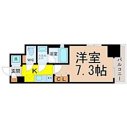 名古屋市営名城線 東別院駅 徒歩9分の賃貸マンション 3階1Kの間取り