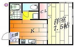 ハイツ芙蓉[1階]の間取り