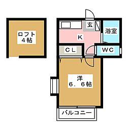 ピュア箱崎 六番館[1階]の間取り