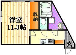 ルシェルメゾン牛田早稲田 1階1Kの間取り
