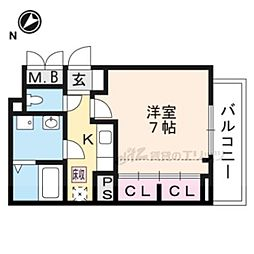 JR湖西線 堅田駅 徒歩13分の賃貸アパート 1階1Kの間取り