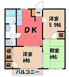 栃木県宇都宮市東岡本町の賃貸アパートの間取り
