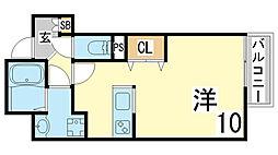 JR山陽本線 須磨海浜公園駅 徒歩4分の賃貸マンション 4階1Kの間取り