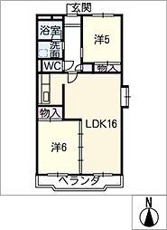愛知県名古屋市中川区荒子5丁目の賃貸マンションの間取り