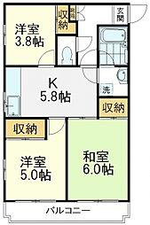 西武国分寺線 鷹の台駅 徒歩16分の賃貸マンション 2階3DKの間取り