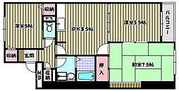 大阪府河内長野市木戸2丁目の賃貸マンションの間取り