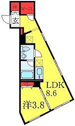 東武東上線 大山駅 徒歩6分の賃貸マンション 3階1LDKの間取り