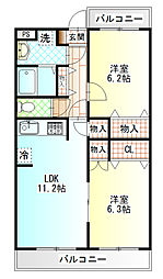 トヨカワマンション[303号室]の間取り