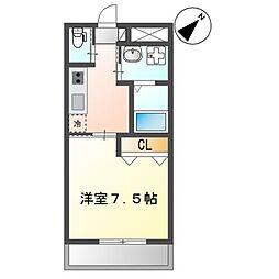 (仮)那覇市三原1K新築マンション 2階1Kの間取り