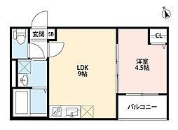 大阪府門真市寿町の賃貸アパートの間取り