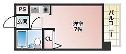 阿倍野橋山よしハイツ[7階]の間取り