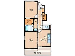 和歌山県岩出市波分の賃貸アパートの間取り
