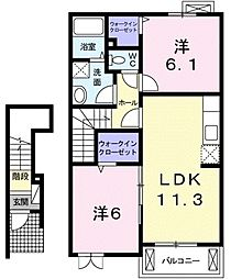 東京都八王子市上壱分方町の賃貸アパートの間取り