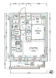 アクサスレジデンス目黒東 11階1LDKの間取り