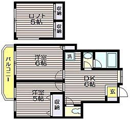 東京都三鷹市中原4の賃貸アパートの間取り