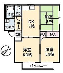 ディアコート福浜 A棟[2階]の間取り