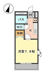 岡山県井原市笹賀町1丁目の賃貸アパートの間取り