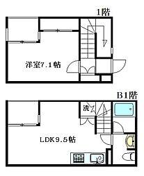 ハウス&ガーデン デルコ 1階1LDKの間取り