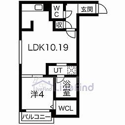 札幌市営東西線 菊水駅 徒歩7分の賃貸マンション 3階1LDKの間取り
