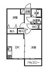 茨城県ひたちなか市大字勝倉の賃貸アパートの間取り