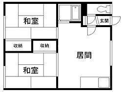 堺マンション 1階2LDKの間取り