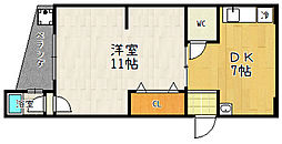 城南マンション[405号室]の間取り