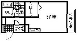 コゥジィーコート1 2階ワンルームの間取り