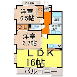 愛知県名古屋市中川区八熊通4丁目の賃貸マンションの間取り