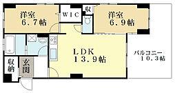 近鉄京都線 向島駅 徒歩14分の賃貸マンション 1階2LDKの間取り