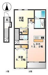 平田1丁目新築アパート2LDKの間取り