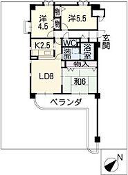 カネロク竜美丘[3階]の間取り
