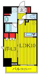 ラティエラ板橋 9階1LDKの間取り