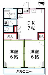 東京都国分寺市西元町2丁目の賃貸マンションの間取り