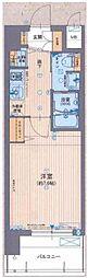 大阪WESTレジデンス 8階1Kの間取り