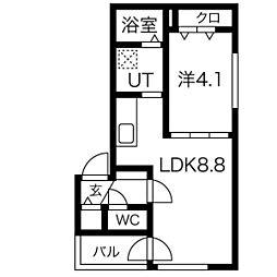 メニーズコート東屯田通 2階1LDKの間取り